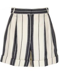 Alexander McQueen High-waisted Striped Shorts - Multicolor
