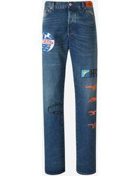 Heron Preston Printed Denim Jeans - Blue