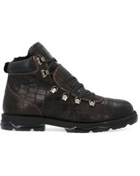 Jimmy Choo Barra Croc Effect Hiking Boots - Brown
