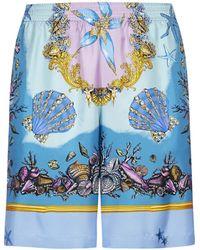 Versace Trésor De La Mer Print Shorts - Blue