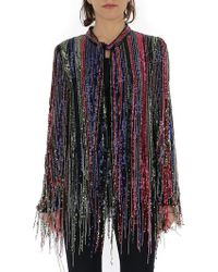 Amen Bead Fringed Pussybow Blouse - Multicolor