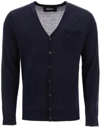 DSquared² Cardigan With Embroidered Logo - Blue