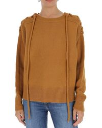See By Chloé Lace Up Knitted Jumper - Brown