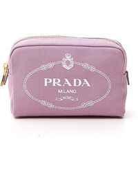 Prada Logo Printed Cosmetic Pouch - Pink