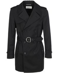 Saint Laurent Short Double Breasted Trench Coat - Black