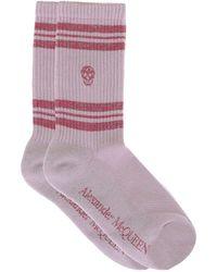 Alexander McQueen Skull Striped Socks - Pink