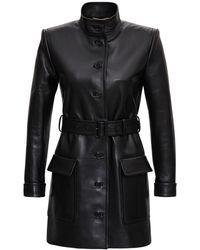Saint Laurent Long Leather Jacket With Belt - Black