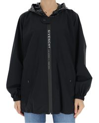 Givenchy Logo Hooded Windbreaker Jacket - Black