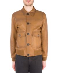Prada Buttoned Leather Jacket - Brown