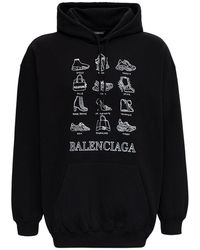 Balenciaga Black Jersey Hoodie With Print