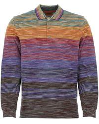 Missoni Striped Long-sleeve Polo Shirt - Purple