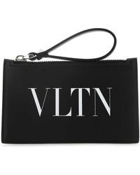 Valentino Vltn Printed Zipped Cardholder - Black