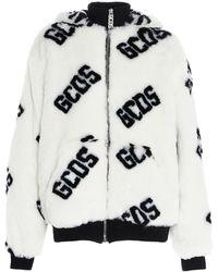 Gcds Logo Faux Fur Hoodie - White