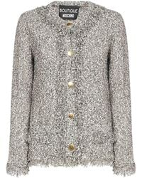 Boutique Moschino Buttoned Tweed Cardigan - Grey