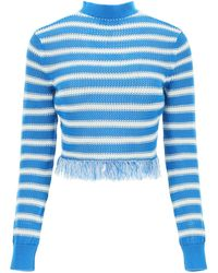 MSGM Fringed Striped Jumper - Blue