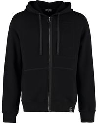 Lanvin Logo Embroidered Zipped Hoodie - Black