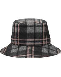 Alberta Ferretti Logo Plaque Tartan Bucket Hat - Black