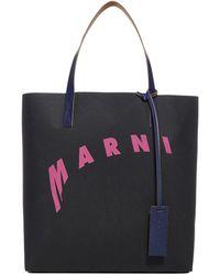 Marni Distorted Logo Shopping Tote Bag - Black