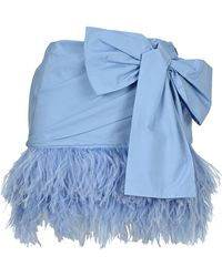 N°21 Feathered Bow Detail Mini Skirt - Blue