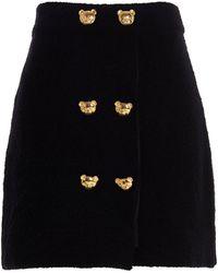 Moschino Teddy Bear Buttoned Mini Skirt - Black
