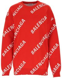 Balenciaga All Over Logo Knit Jumper - Red