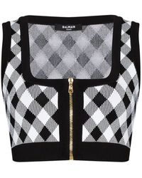 Balmain Zipped Knitted Gingham Crop Top - Multicolor