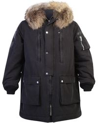 Amiri Fur Hooded Parka Coat - Black
