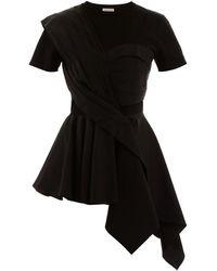 Alexander McQueen Asymmetrical Overlay Top - Black