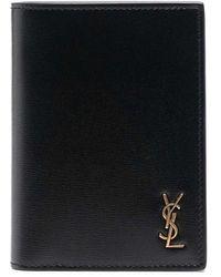 Saint Laurent Card Holder With Logo Plaque - Black