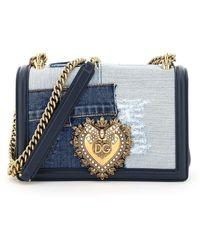 Dolce & Gabbana Devotion Denim Medium Shoulder Bag - Blue