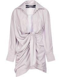 Jacquemus Bahia Knotted Shirt Dress - Purple