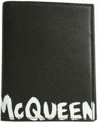 Alexander McQueen Passport Holder With Graffiti Logo - Black