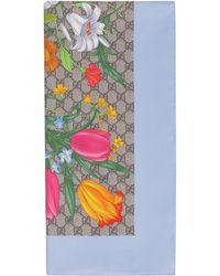Gucci GG Flora Print Scarf - Multicolour
