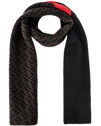 Fendi Ff Logo Knit Scarf - Black