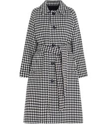 AMI Checked Belted Coat - Black