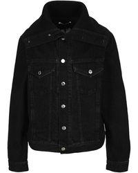 Helmut Lang Knit Collar Trucker Denim Jacket - Black
