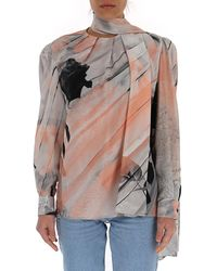 Alexander McQueen - Printed Pussybow Blouse - Lyst