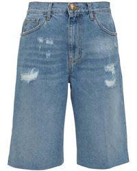 Pinko Distressed Side-slit Bermuda Shorts - Blue