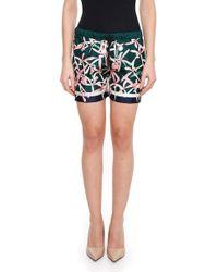 Moncler - Floral Print Silk Shorts - Lyst