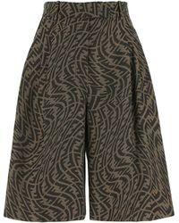 Fendi Embroidered Polyester Blend Bermuda Shorts - Multicolour