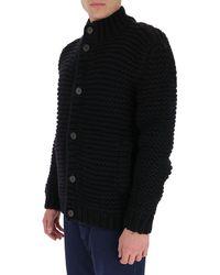 Fendi High-collar Rib Knit Cardigan - Black