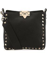 Valentino Garavani Mini Rockstud Hobo Shoulder Bag - Black