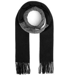 Bally Fringed Stripe Detail Scarf - Black