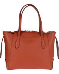 Tod's Logo Embossed Medium Shopping Bag - Brown