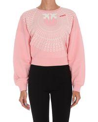 Pinko Logo Printed Cropped Sweatshirt - Pink