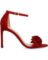 Stuart Weitzman Women's Nudistsongflowerchile Red Suede Sandals