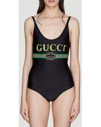 Gucci Logo Sparkling Swimsuit - Black