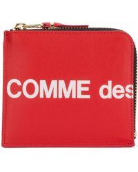 Comme des Garçons Logo-print Leather Half-zip Wallet - Red