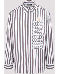 Raf Simons Text Detail Striped Shirt - Blue