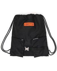 Heron Preston Logo Patched Gym Backpack - Black